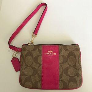 Coach PVC leather small wristlet Khaki/ Pink Ruby